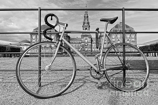 Bicycle at Christiansborg Palace, Black and White by Catherine Sherman