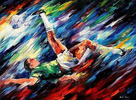 Bicycle Kick - PALETTE KNIFE Oil Painting On Canvas By Leonid Afremov by Leonid Afremov