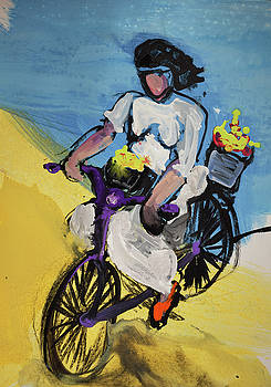 Bicycle Riding With Baskets Of Flowers by Amara Dacer