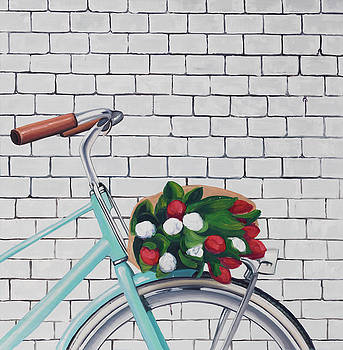 Bicycle with a Bouquet of Tulips by Atelier B Art Studio