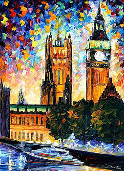 Big Ben London 2 - PALETTE KNIFE Oil Painting On Canvas By Leonid Afremov by Leonid Afremov