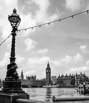 Big Ben with Sturgeon Lamp Black and White by Marina McLain