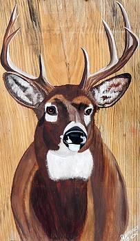 Big Buck on Wood by Debbie LaFrance