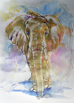 Big elephant in gold by Kovacs Anna Brigitta
