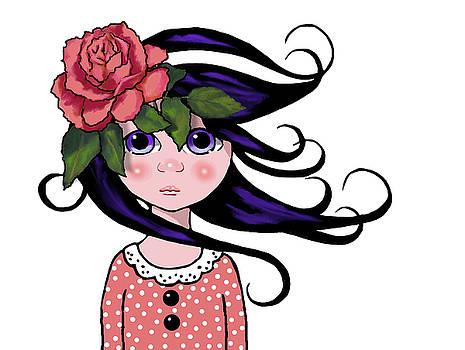 Big Eyed Girl with Rose, Pop Art by Joyce Geleynse