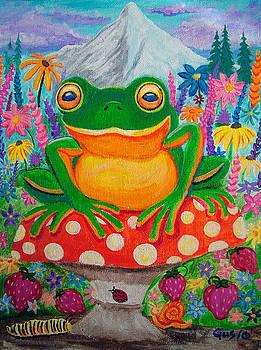 Nick Gustafson - Big green frog on red mushroom