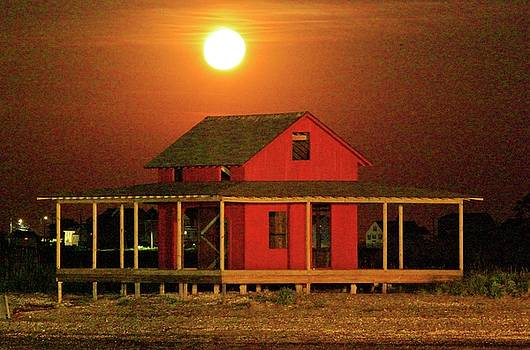 Big Moon Over Red Shack by Catie Canetti