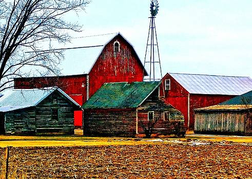 Big Red Homestead with Windmill by Becky Kurth
