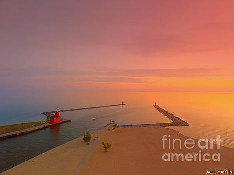 Big Red Lighthouse Sunset Holland Michigan Beauty And Dreams by Jack Martin