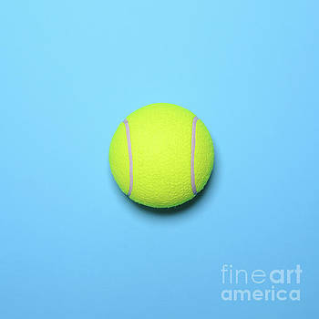 Big tennis ball on blue background - Trendy minimal design top v by Aleksandar Mijatovic