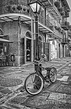 Bike and Lamppost in Pirate's Alley- BW by Kathleen K Parker