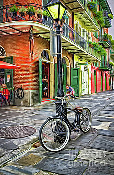 Bike and Lamppost in Pirates Alley-Painted by Kathleen K Parker