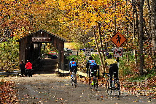 Terri Gostola - Biking Across the Fallasburg Covered Bridge