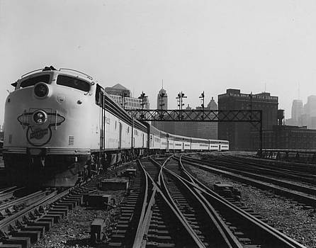 Chicago and North Western Historical Society - Bilevel 400 Leaving Chicago Passenger Terminal - 1958
