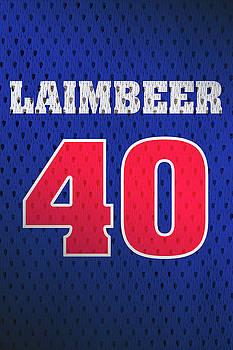 Design Turnpike - Bill Laimbeer Detroit Pistons Number 40 Retro Vintage Jersey Closeup Graphic Design