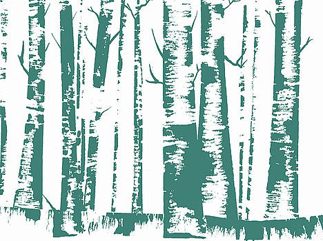 Birch Forest in Blue by Christina VanGinkel