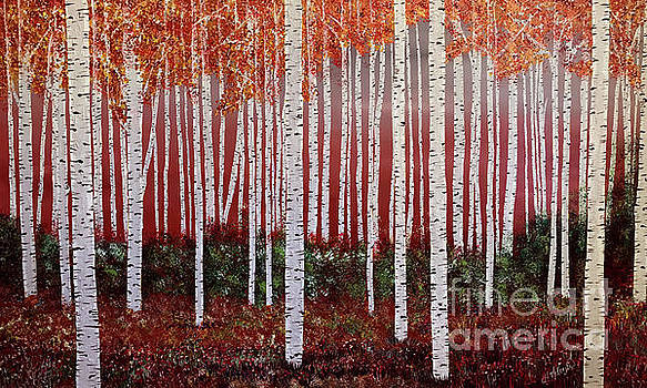 Birch Tree forest, RED by Heather McKenzie