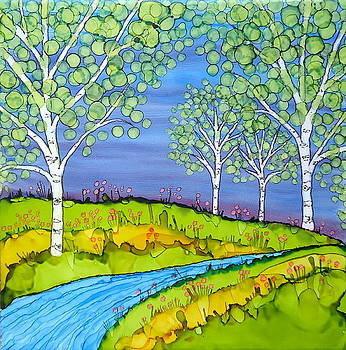 Birch Trees Abstract Landscape Ceramic Tile Paitning by Laurie Anderson