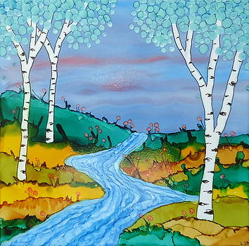 Birch Trees and Stream by Laurie Anderson
