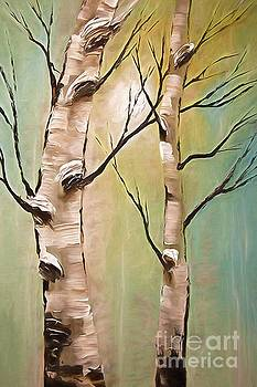 Birch Trees Color Pencil  by Heinz G Mielke