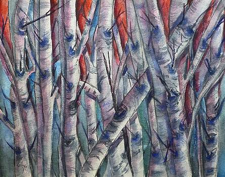 Birch Trees in Living Color by Kelly Mills