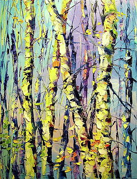 Birch Trees in Sunshine by Keren Gorzhaltsan
