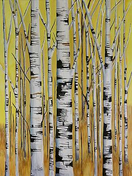 Birch Trees in Yellow by Lori A Johnson