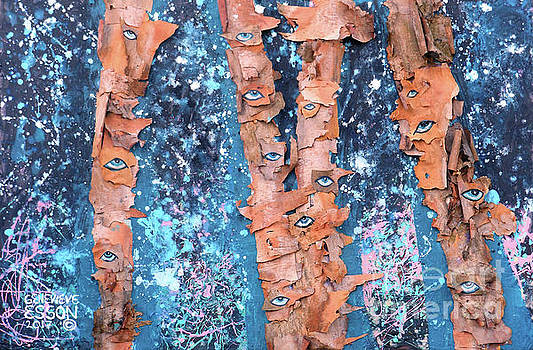 Birch Trees With Eyes by Genevieve Esson