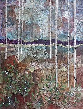 Birches, Moon, and Berries by Janyce Boynton