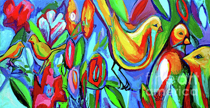 Bird and Floral Abstract by Genevieve Esson