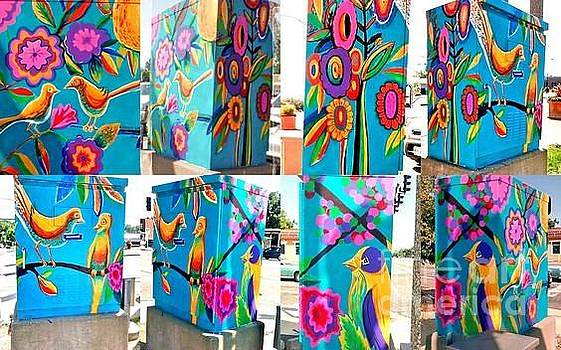 Bird And Floral Traffic Signal Box For University City by Genevieve Esson