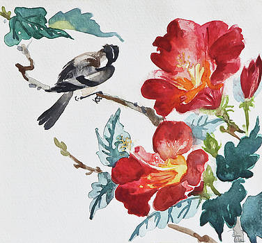 Bird and Hibiscus by Denise Jo Williams