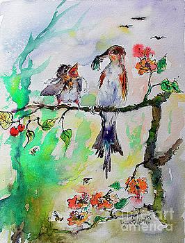 Ginette Callaway - Bird Feeding Baby Watercolor