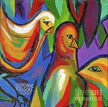Bird Floral Diptych 2 by Genevieve Esson