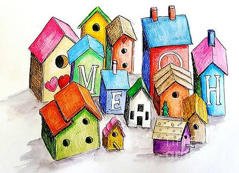 Bird House Village by Jeanne Grant