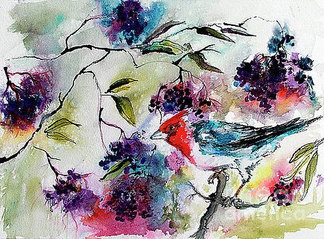 Ginette Callaway - Bird In Elderberry Bush Watercolor