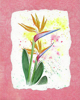 Bird Of Paradise Watercolor Splashes by Irina Sztukowski