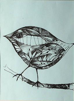 Bird on a brench by Cristina Rettegi