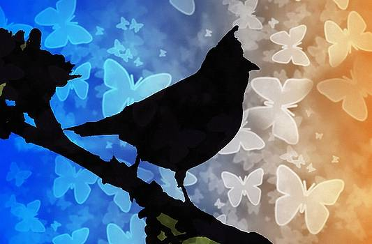 Bird On Branch by MS  Fineart Creations