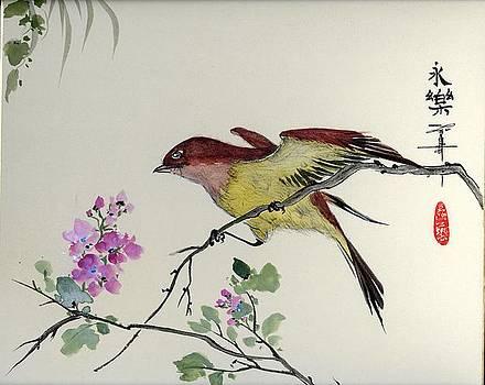 LINDA SMITH - Bird on flowering branch