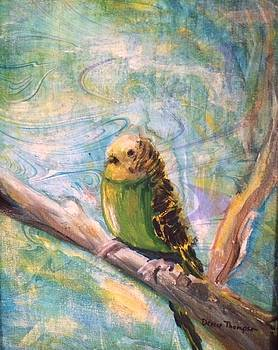Bird on Green Marbling by Denice Palanuk Wilson