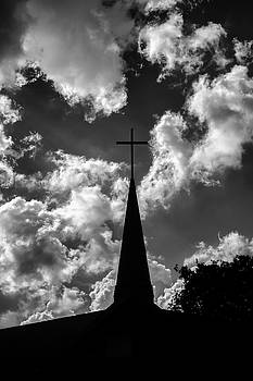 Bird Rests on a Cross against a Cloudy Sky by Paul Donohoe