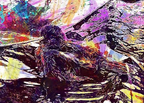 Bird Sparrow Bad Swim Sperling  by PixBreak Art