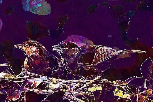 Bird Tit Parus Major Young Hunger  by PixBreak Art
