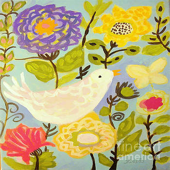 Bird with Butterfly by Karen Fields
