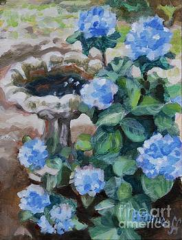 Birdbath Hydrangeas by Jan Bennicoff