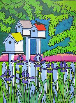 Birdhouses with Irises by Nicholas Martori