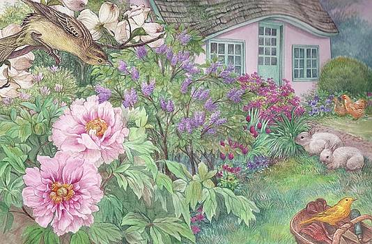 Birds and bunnies in cottage garden by Judith Cheng