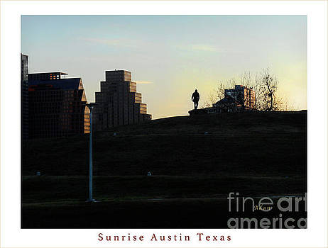 Felipe Adan Lerma - Birds and Fun at Butler Park Austin - Silhouettes 3 Greeting Card Poster - Sunrise Austin Texas