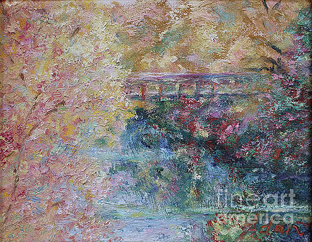 Felipe Adan Lerma - Birds Boaters And Bridges Of Barton Springs - Autumn Colors Pedestrian Bridge